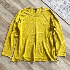 Eileen Fisher Mustard Gold Side Slit Sweater Sz S